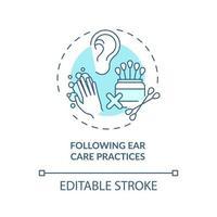 seguindo o ícone do conceito de práticas de cuidados com os ouvidos vetor
