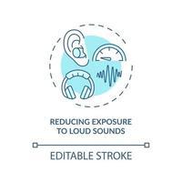 reduzindo a exposição ao ícone do conceito de sons altos vetor