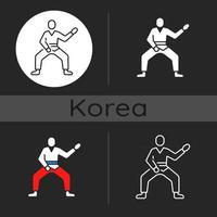ícone de tema escuro de taekwondo vetor