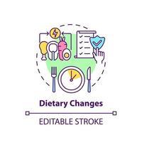 ícone do conceito de mudanças dietéticas vetor