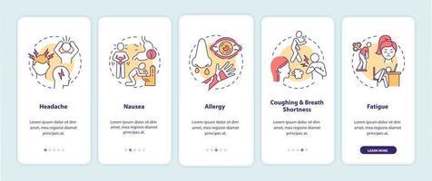 poluição do ar, sintomas de doenças, integração tela da página do aplicativo móvel com conceitos vetor