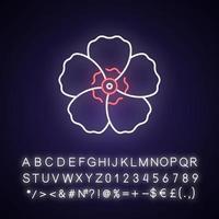 ícone de luz neon hibiscus syriacus vetor