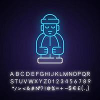 ícone de luz de néon das estátuas da ilha de Jeju vetor