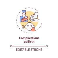 ícone do conceito de complicações no nascimento vetor