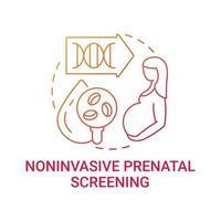 Ícone de conceito gradiente vermelho de triagem pré-natal não invasiva vetor