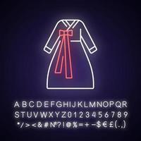 ícone de luz neon hanbok vetor