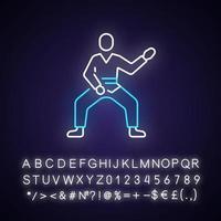 ícone de luz de néon de taekwondo vetor