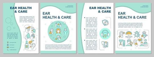 modelo de folheto de saúde e cuidados com os ouvidos vetor