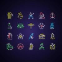 conjunto de ícones de luz de néon da coreia vetor