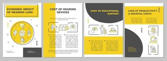 modelo de folheto de impacto de perda auditiva econômica vetor