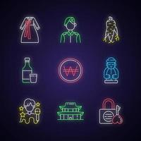 conjunto de ícones de luz de néon da cultura da Coreia vetor