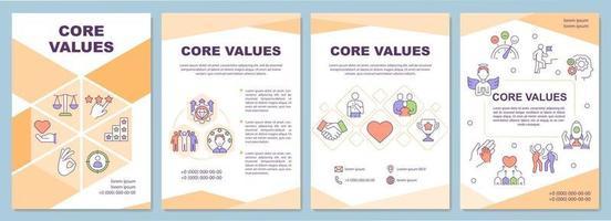 modelo de brochura de valores essenciais vetor