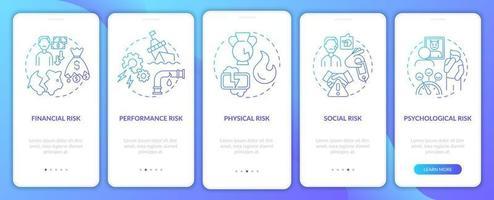 fatores de risco de compra na tela da página do aplicativo móvel com conceitos vetor