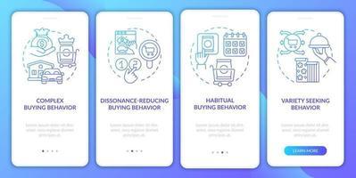 tipos de comportamento do cliente na tela da página do aplicativo móvel com conceitos vetor