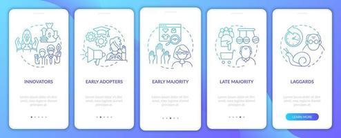 classificação de aceitadores de produto na tela da página do aplicativo móvel com conceitos vetor