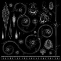 padrão paisley preto e branco vetor