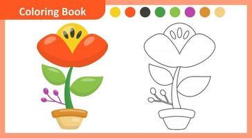 flor livro para colorir vetor