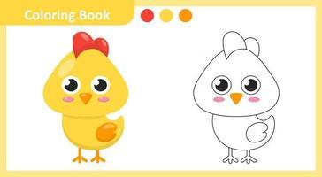 livro para colorir frango vetor