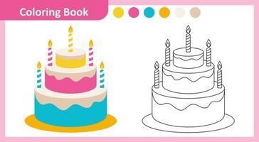 bolo de livro para colorir vetor