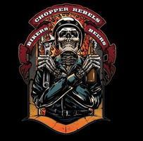 moto clube com caveira vetor