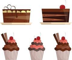 conjunto de bolos e cupcakes vetor