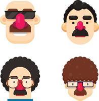 conjunto de quatro rostos de homens com penteados e bigodes diferentes vetor