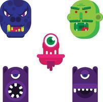 desenho plano faces de monstros de desenhos animados vetor