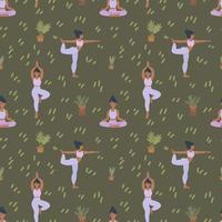 padrão de fundo de uma aula de ioga. meninas fazem pilates e meditação vetor