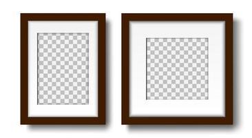 duas molduras de fotos com passepartout na maquete de parede vetor