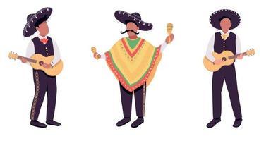 músicos mexicanos cor plana vetor conjunto de caracteres sem rosto
