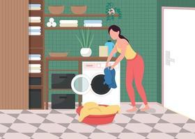lavanderia em casa ilustração vetorial de cor lisa vetor