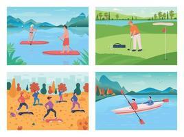conjunto de ilustração vetorial de cor plana de esporte ao ar livre vetor