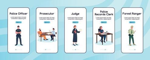modelo de vetor plano de tela de aplicativo móvel para funcionários da justiça e da lei