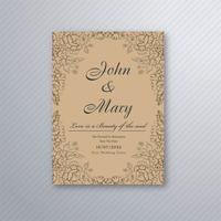 Modelo de design de cartão floral de convite de casamento decorativo vetor