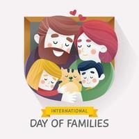 família feliz com criança e animal de estimação vetor
