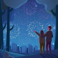 um casal aproveita o fogo de artifício vetor