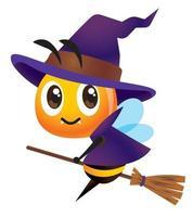 Abelha de desenho animado com fantasia de bruxa com vassoura mágica vetor