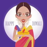 linda senhora indiana segurando uma lâmpada de argila diya celebrando o diwali ou deepavali vetor
