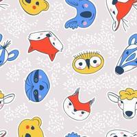 padrão uniforme de adesivos simples com retratos de animais vetor
