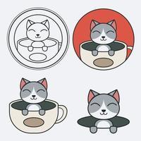 conjunto de logotipo de um gato e mascote de xícara de café vetor