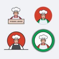 conjunto de logotipo de um chef mascote vetor