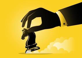 uma mão de empresário segurando uma peça de xadrez de cavaleiro vetor