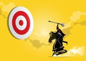 empresário segurando uma flecha de dardo enquanto monta a peça do cavaleiro de xadrez vetor
