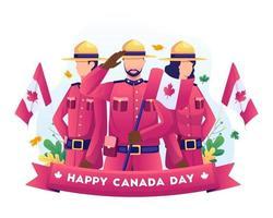Soldados canadenses comemoram o Dia da Independência do Canadá com bandeiras nacionais em ilustração em 1º de julho vetor