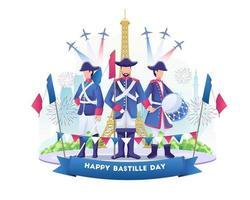 comemoração do dia da bastilha com pessoas vestindo roupas do exército francês feliz dia da bastilha da França em 14 de julho ilustração vetor