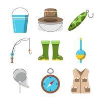 conjunto de ícones de elemento de pesca vetor