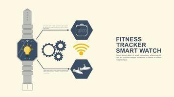 iconografia para design de estilo plano smart watch fitness tracker tênis e cronômetro para rastrear ações e um local para inserir texto vetor