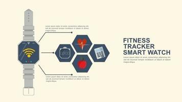 iconografia para ícones de rastreador de fitness de relógio inteligente design plano com a imagem do equipamento funcional e um local para inserir texto vetor
