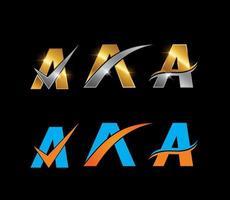 ouro, prata e azul, letra inicial do monograma laranja um conjunto vetor