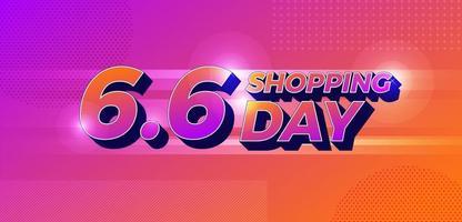 conceito de design plano 6 6 dia de compras global vetor
